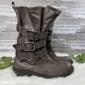 Brash Gray Moto Boots